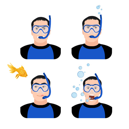 Diving design concept set with instructor with different emotions equipment underwater shooting flat icons isolated vector illustration Vector