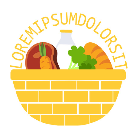 greens: Wicker food basket flat vector illustration icon with milk, meat, vegetables and greens