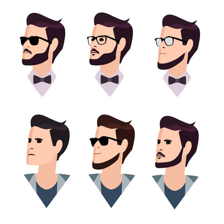 sunglasses cartoon: flat cartoon hipster character set, vector illustration young man in a cap and glasses with a beard