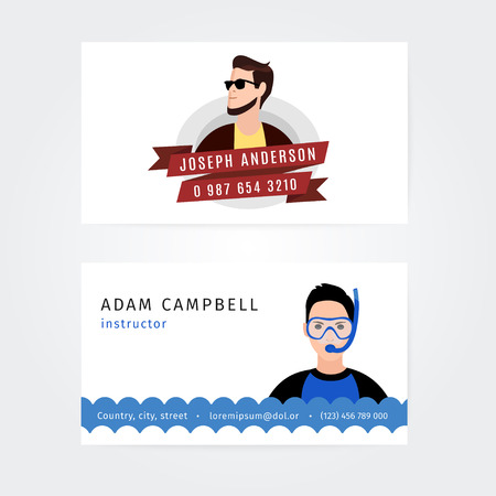 the instructor: Vector Modern Creative and Clean Business Card Template. Flat People Design. Swimming instructor