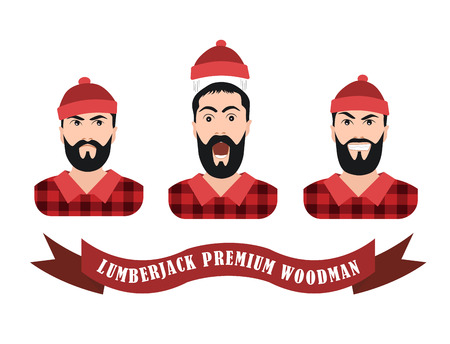 lumberjack: Vector Illustration of a lumberjack forester logger  with scroll done in retro style, Collection emotions joy serious fright