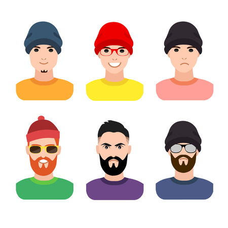 flat cartoon hipster character set, vector illustration young man in a cap and glasses with a beard