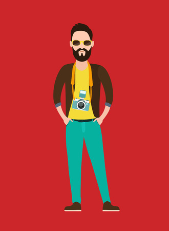 Hipster Photographer, journalist, reporter at work with the camera. trendy flat character, Vector illustration Vector