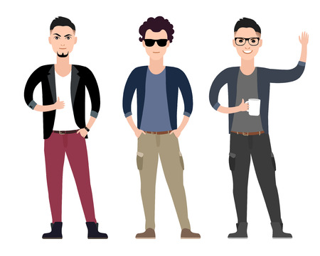 Casual young men character  flat set in different poses  vector illustration Vector