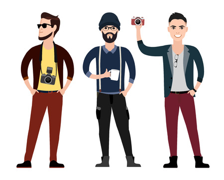 Modieuze jonge mannen hipster karakter flat in verschillende poses met een camera, vector illustratie