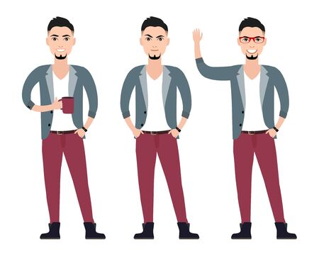 Fashionable casual young man hipster character  in a suit flat set in different poses, vector illustration Vector
