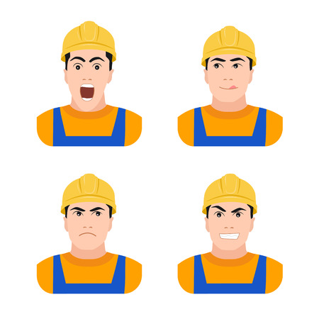 Builder worker at construction different emotions flat vector illustration on a white background, surprise, joy, anger, fear