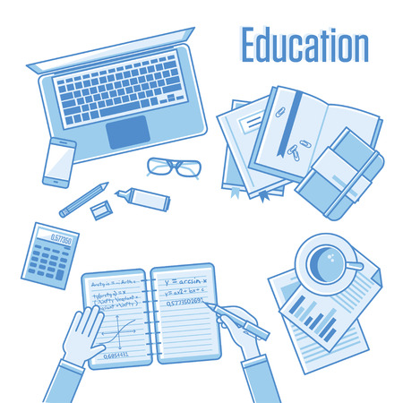 online book: Flat design vector linear illustration concepts of education and online learning. Top view. Concepts for web banners and printed materials with hands, laptop, computer,  phone, book, calculator, notebooks, markers, records, documents etc. Blue color