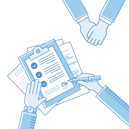 treaty: Business man hands holding contract and pen, signing of a treaty business contract flat design vector linear icons illustration Illustration