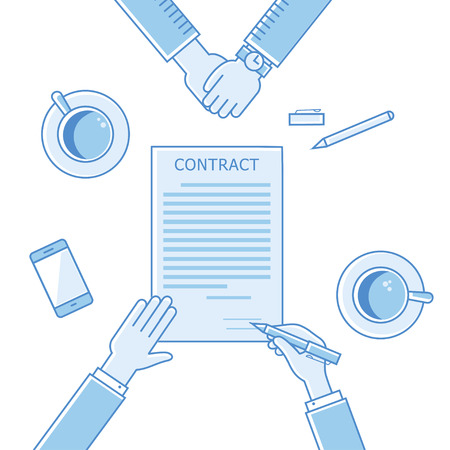 signing: Business man hands holding contract and pen, signing of a treaty business contract flat design vector linear icons illustration Illustration