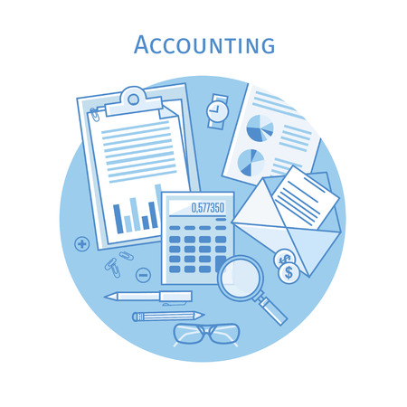 Flat linear vector icons  illustration design concepts for business and finance. Top view. Concepts for taxes, finance, bookkeeping, accounting, business, market etc. Blue color