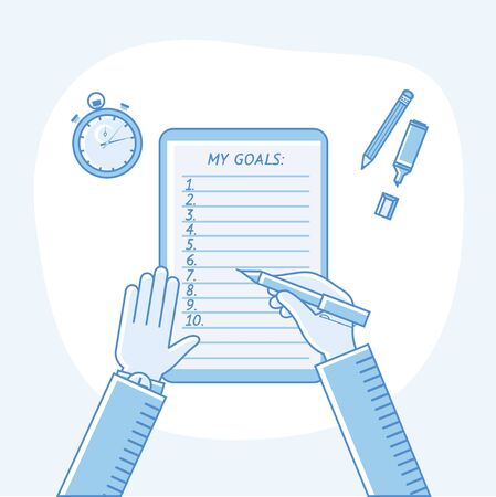 achievable: Business goals checklist. Vector flat linear icon. To do list. Top view. Idea - Business planning, my goals, management and company strategy concept.