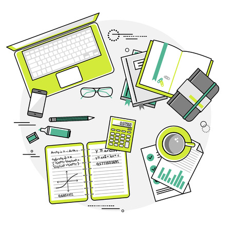 Flat design vector linear illustration concepts of education and online learning. Top view. Concepts for web banners and printed materials with hands, laptop, computer,  phone, book, calculator, notebooks, markers, records, documents etc Illustration