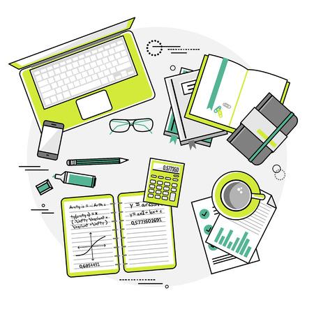 estudiar: Piso de diseño ilustración vectorial lineal conceptos de la educación y el aprendizaje en línea. Vista superior. Conceptos para web banners y materiales impresos con las manos, ordenador portátil, ordenador, teléfono, libro, calculadora, cuadernos, marcadores, registros, documentos, etc.