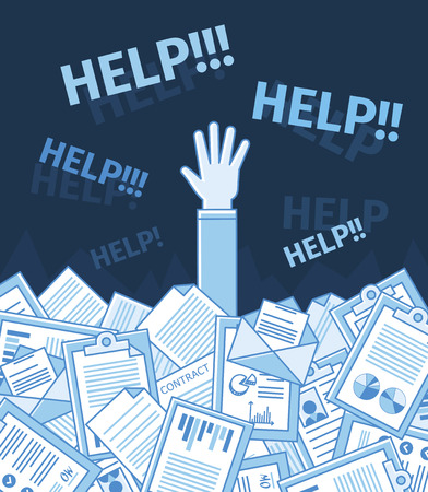 Businessman or student under a lot of document and call for help with his hand raised. Linear flat vector illustration. Education. Blue color