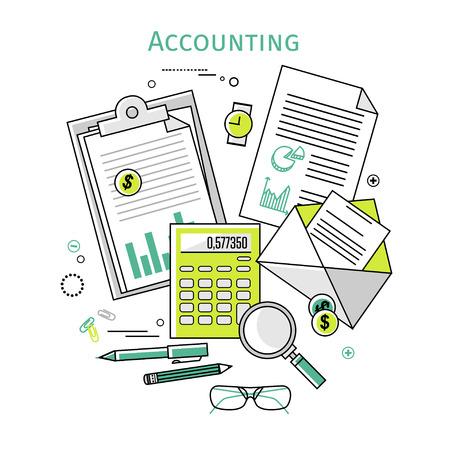 contabilidad financiera cuentas: Conceptos de diseño planos lineales iconos vectoriales ilustración para los negocios y las finanzas. Vista superior. Conceptos para impuestos, finanzas, contabilidad, contabilidad, negocios, mercados, etc.