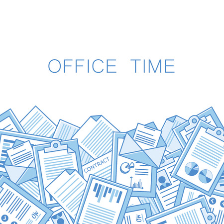 Stressful in office with too many stack of papers, overload of works. vector background With space for text Stock Illustratie