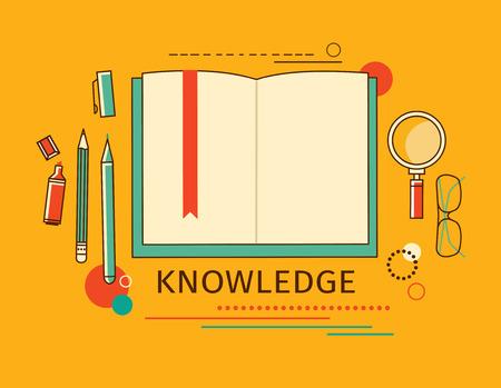estudiando: Ilustraci�n del vector. Fondos de estudio lineales planos establecidos. Educaci�n y cursos en l�nea, tutoriales de aprendizaje. Estudio y proceso creativo. Conocimiento.