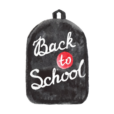 graduacion ni�os: Volver a dise�o vectorial texto de la escuela en la mochila. Dibujado a mano fondo de la vendimia.