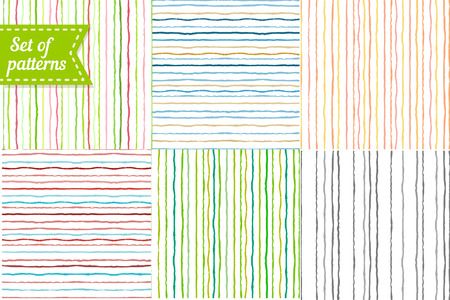 rallas: Conjunto de fondos de colores con rayas. Patrón de rayas sin fisuras con las pinceladas pintadas a mano. Ilustración vectorial Vectores