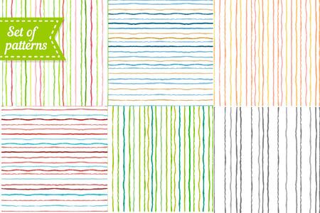 Set van gekleurde achtergronden met strepen. Naadloos gestreept patroon met de hand geschilderd penseelstreken. Vector illustratie