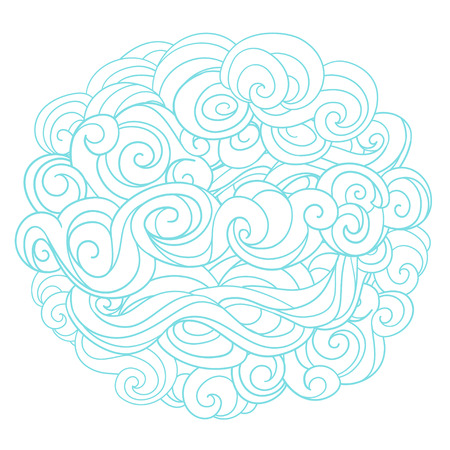plaited: Hand drawn vector background with linear twirl pattern. Template for design and decoration winter greeting cards, covers, invitations. For Christmas and New Year Vectores