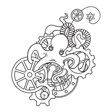 L'illustration originale de Steampunk poulpe avec des engrenages et des mécanismes. Steampunk épingle de bijoux avec des engrenages et le poulpe. Imprimer steampunk