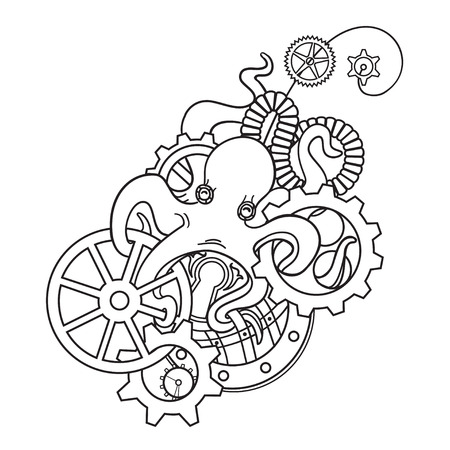 black octopus: The original illustration of Steampunk octopus with gears and mechanisms. Steampunk jewelry hairpin with gears and octopus. Print steampunk