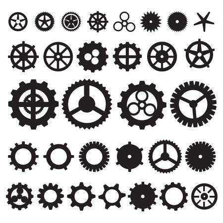 engranajes: Engranajes de Steampunk colección engranaje de la máquina, rueda vector rueda dentada, un conjunto de ruedas de engranaje, conjunto de iconos del vector del engranaje.