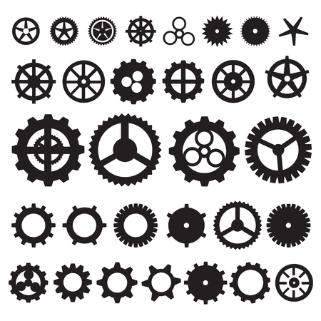 Steampunk gear collection machine gear, wheel cogwheel vector, set of gear wheels, set of vector icons gear. Stock fotó - 46718034