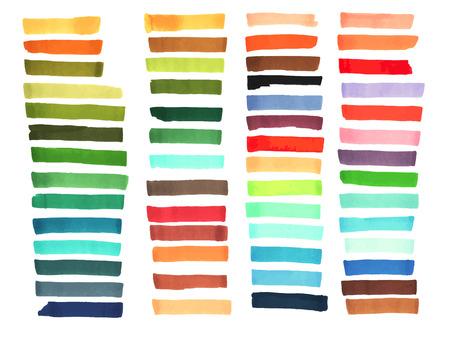 Rayas del color dibujadas con marcadores de Japón. Elementos de estilo para el diseño. Vector marcador de color de trazo brillante