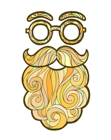 hair mask: Vector illustration of a hand drawn sketch santa claus male beard and mustache fashionable hipster style, curly beard and round glasses Illustration