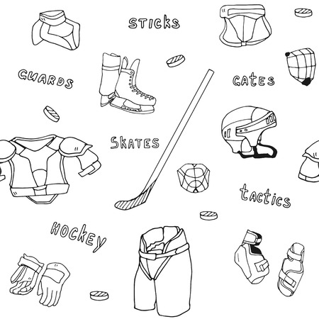 sports equipment: Seamless pattern ice-hockey equipment sport icon vector handdrawn illustration Illustration