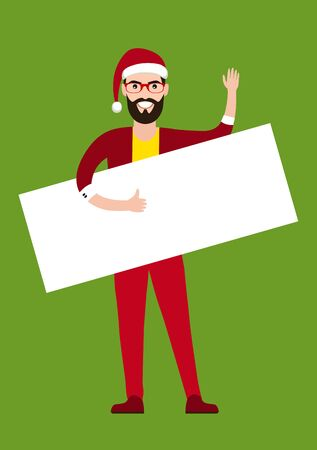 man holding a blank sign: Cartoon flat style  young man hipster  Santa claus holding blank sign.  Banner. Vector illustration