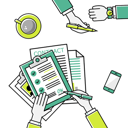 Business man hands holding contract and pen, signing of a treaty business contract flat design vector linear icons illustration Illustration