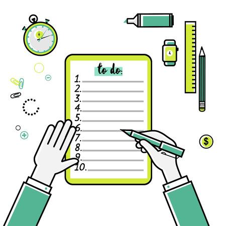 cheque en blanco: Los objetivos de negocio lista de verificación. Vector icono lineal plana. Lista de quehaceres. Vista superior. Idea - la planificación de negocios, mis objetivos, gestión y estrategia de la empresa concepto.
