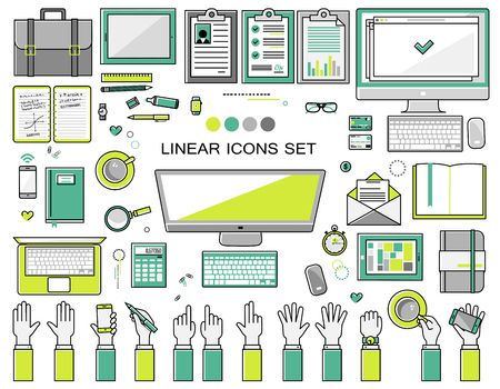 linear workplace icons collection, flat style icons set of a top view, green bright color.  Signs hand gestures. Workspace objects elements office worker, designer, manager, schoolchild. Stationery Stock Illustratie