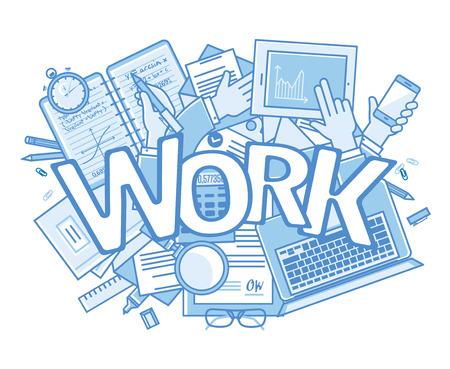 Fond de travail. Stressant dans le bureau avec un trop grand nombre d'?uvres de surcharge. vecteur de fond avec le texte