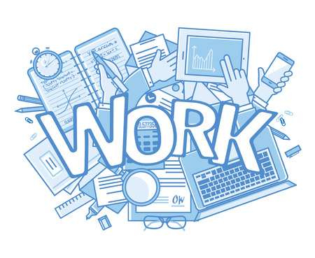 too many: Work background. Stressful in office with too many overload of works. vector background with text Illustration