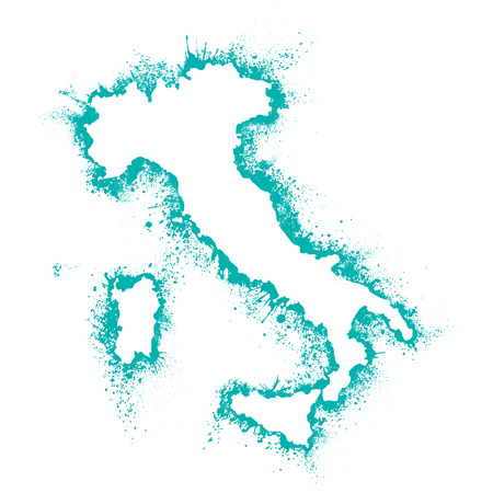 Italy map in vector format in the spray paint, paint stains, Artistic outline Card Italy and Sicily on a white background
