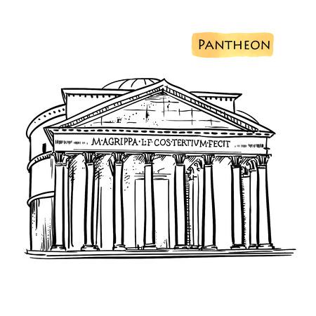 pantheon: Rome famous building hand drawn vector illustration. Italian landmark Pantheon isolated sketch.