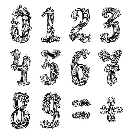 vintage element: A set of original vintage numbers swirl style. Vector design  numeral hand drawn  illustration.  One, two, three, four, five, six, seven, eight, nine, zero Illustration