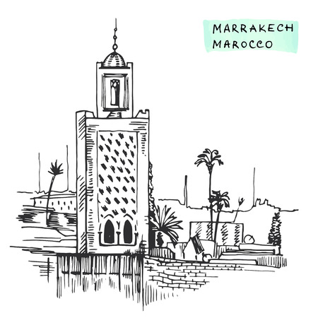 Marrakesh Morocco Black  building hand drawn ink vector illustration