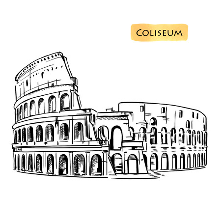 Colosseum hand drawn vector illustration isolated over white background sketch Illustration