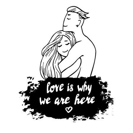 husband and wife: Couple in love hugging husband wife hand drawn art vector print design romance valentines day and quote about love Illustration