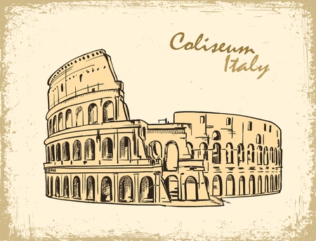 coliseum: Coliseum in Rome, Italy. Colosseum hand drawn vector illustration in old paper, ink sketch
