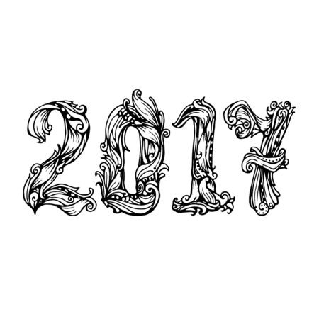 happy new years: The figures 2017 New Year. Festive illustration vector calligraphic lettering numbers for cards and other design Illustration