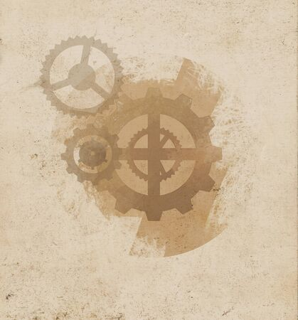 Background vector illustration of  faded gears on old paper. Steampunk Gears Background on Parchment. Stock Photo