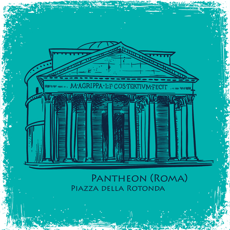 building sketch: Rome famous building hand drawn vector illustration. Italian landmark Pantheon isolated sketch. print design vector background blue color
