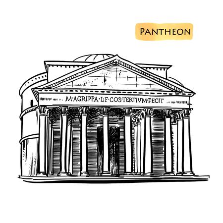 pantheon: Rome famous building hand drawn vector illustration. Italian landmark Pantheon isolated ink sketch.